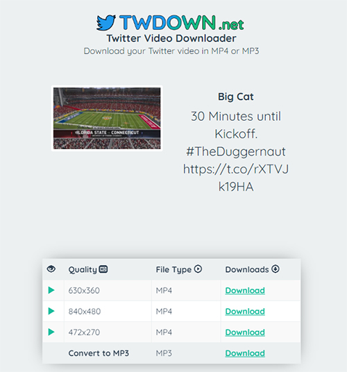 Download Twitter Video Twdown Quality