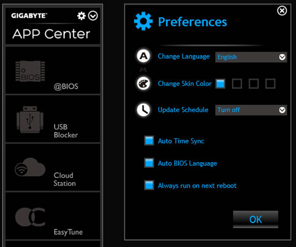 guide to install use gigabyte app center dashboard preferences