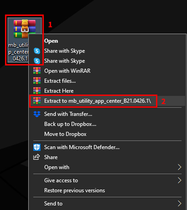 guide to install use gigabyte app center extract