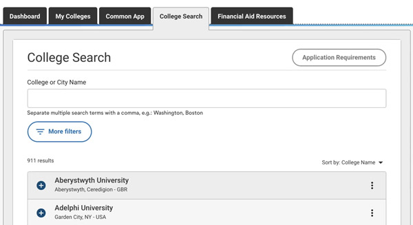how to find good college common app college search